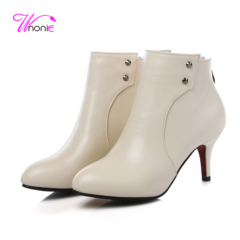 ФОТО 2017 Woman Boots Ankle Boots Short Boots Thin Spike High Heel Boots Stud Zipper Leather Dress Party Winter Female Ladies Shoes