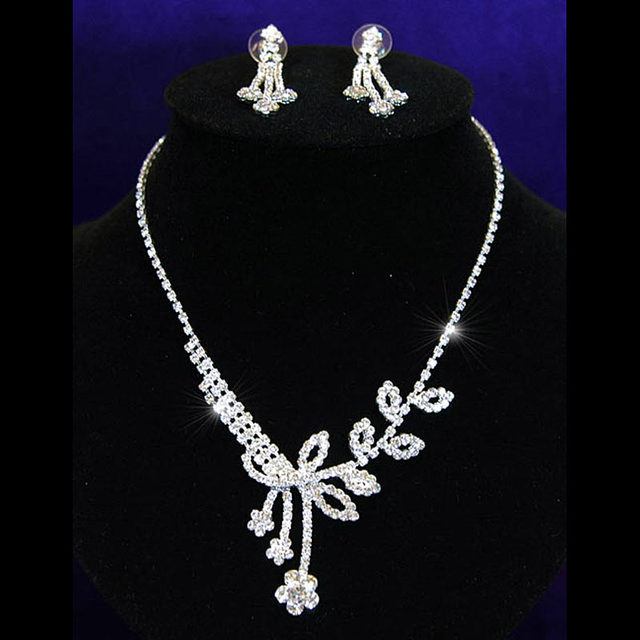 Bridal Wedding Party Quality Flower Crystal Necklace Earrings Set Bridesmaid Jewelry Cs1026