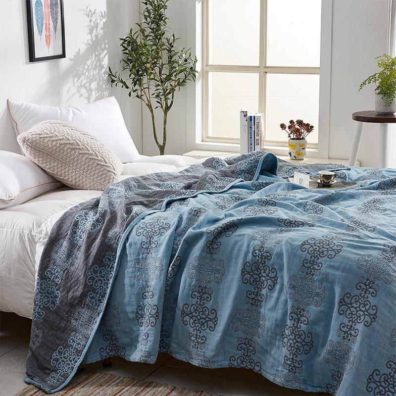 2020 New Summer Throw Blanket 100% Cotton Gauze Quilt European Home Bedding Elegant Bedspread Geometry Bed Linen 150*200cm Duvet