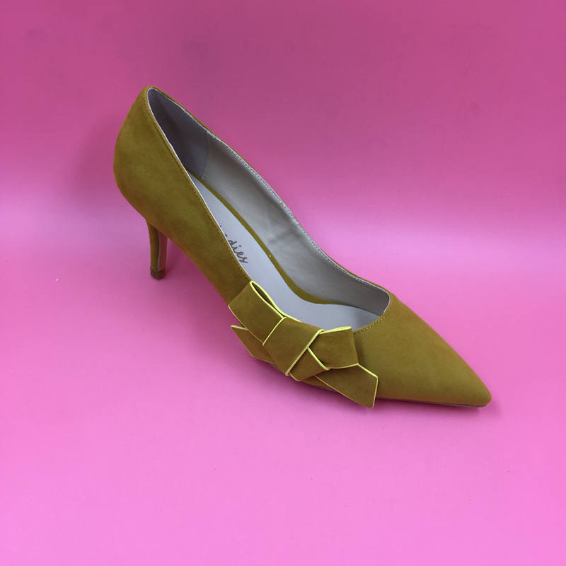 ФОТО Yellow Suede Leather Low Heel Women Pumps Bowknot Side Pointed Toe Slip-on Ladies Pump Shoes OL Pump Spring Style Real Photo