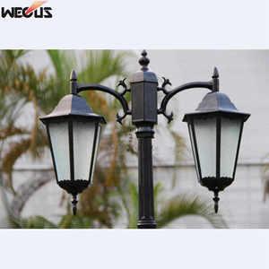 Image 5 - (H≈ 2.5M) אירופאי מעובה מנורת מוט שני למות יצוק אלומיניום אורות גן כביש תאורת תאורה