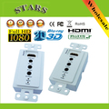 New 1080P 50m Wall Plate HDMI Extender HDMI Converter Splitter 3D Single Cat5e/6 Cable RJ45 with Bi-Directional IR,Free Shipping
