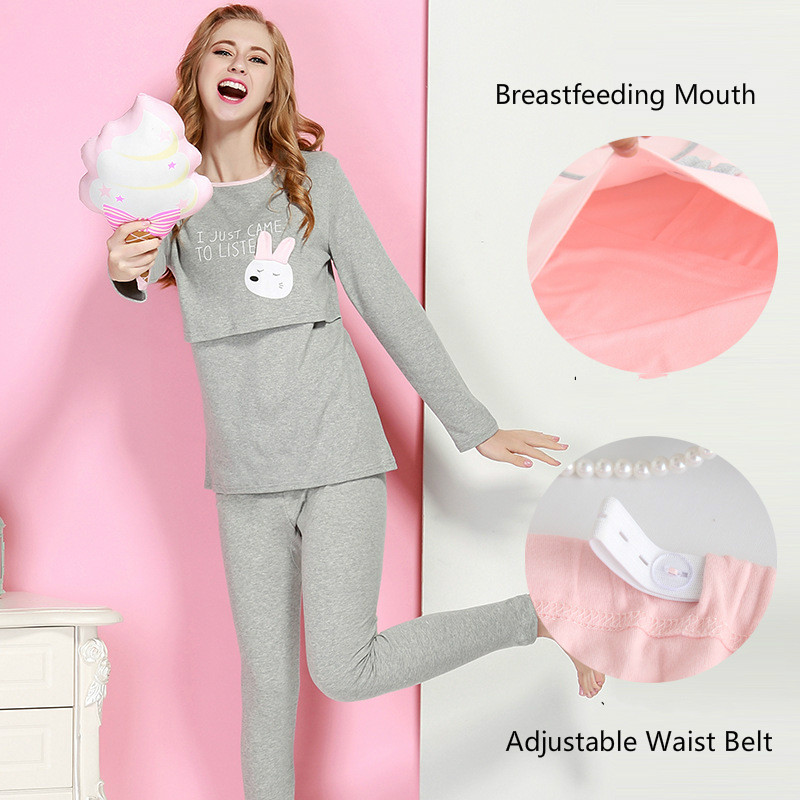 Rabbit Pregnancy Clothes Sets Pajamas forPregnant Women Cotton Pink Breastfeeding Pajamas Nursing Clothes Suit Maternity Clothes