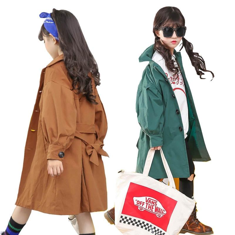 Фото Girls coat autumn trench coat fashion long Jackets for girls camel windbreak coats kids clothes 3~14T outerwear children jackets