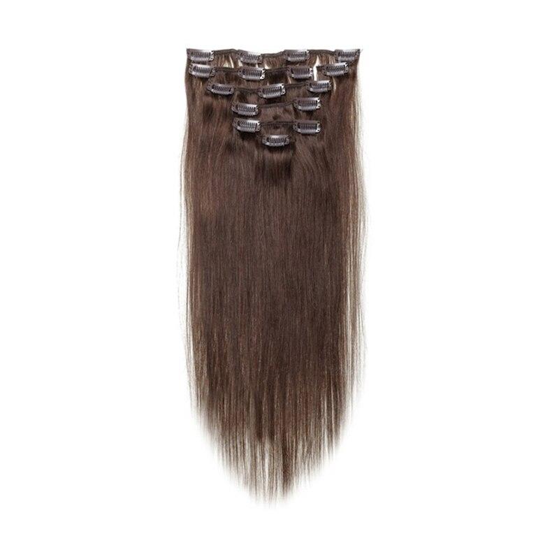 Best Sale Women Human Hair Clip In Hair Extensions 7pcs 70g 15inch Dark-brown