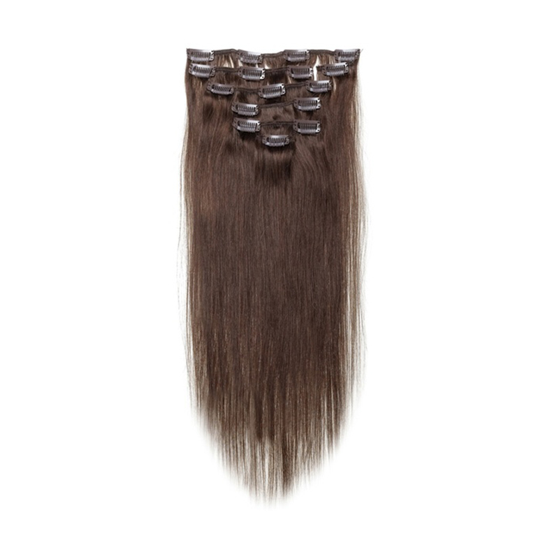 Best Sale Women Human Hair Clip In Hair Extensions 7pcs 70g 15inch Dark-brown