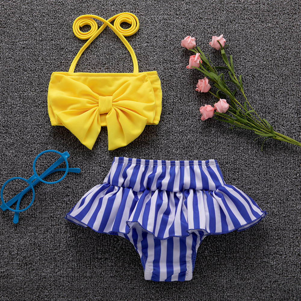 2019 New Kids Baby Girls Toddler Swimsuit Bow Bikini Bathing Suit Beach Swimwear