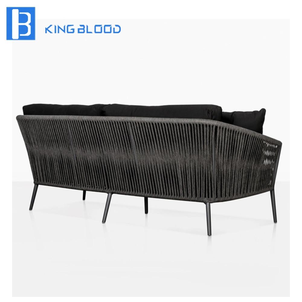 Garden furniture hotel use steel frame round rope sofa sets