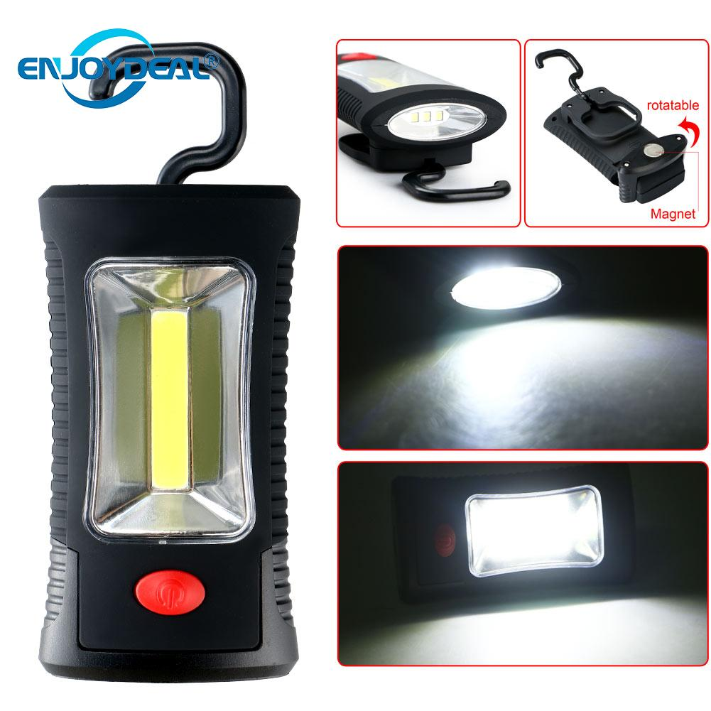 enjoydeal COB LED working Lamp Magnetic WorkLight Inspection Lamp Hand Tool Portable light Stand Hanging Torch nightlight Lamps Ручной фонарь