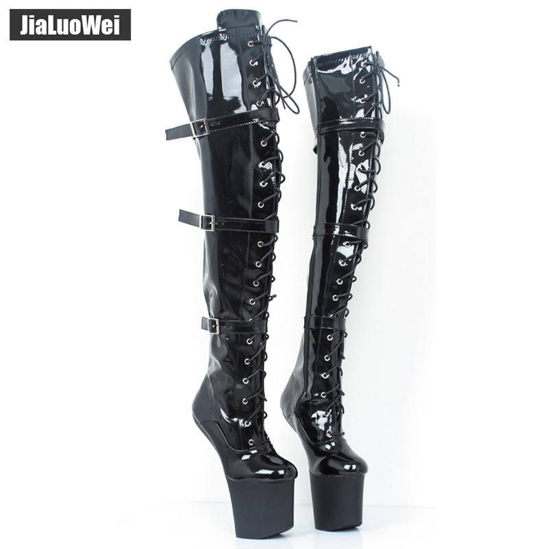 Jialuowei Extreme 20cm High Heel Lace up Fetish sexy Heelless Horse Stallion Hoof Sole over-the-knee boots Thigh high boots jialuowei lace up buckles ballet boots 18cm 7 extreme high heel hoof fashion sexy fetish zip over knee thigh high long boots page 9