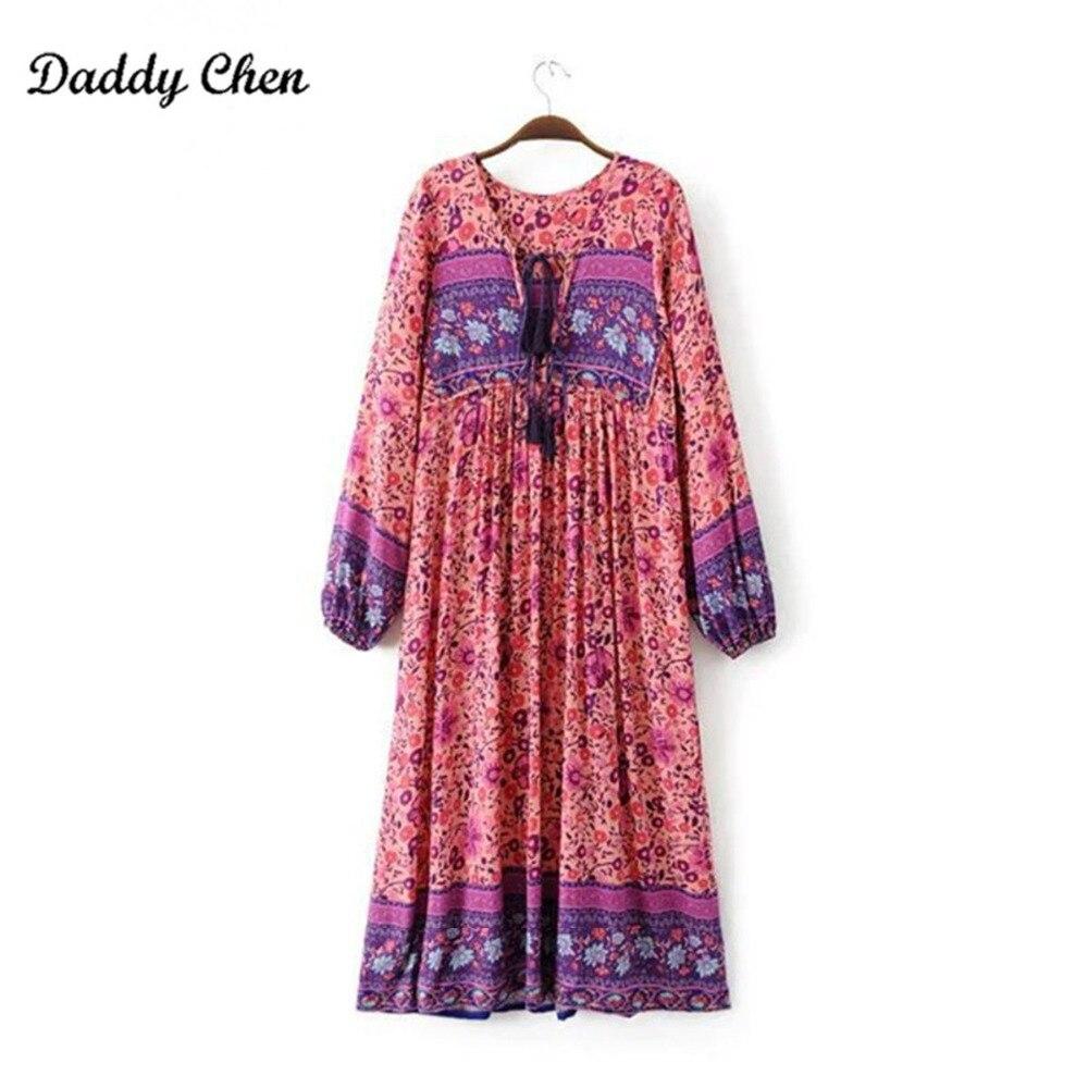 pink boho dress chic floral print cotton maxi dess V-neck long sleeve tassel women dresses 2018 autumn bohemia femme dresses