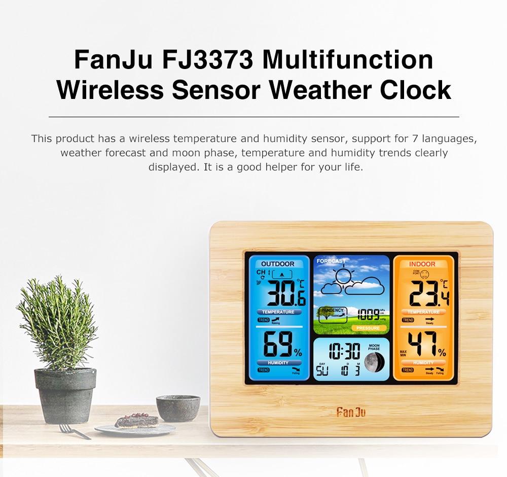 HTB16Fp2Xfvi21VjSZK9q6yAEpXat FanJu FJ3373 Weather Station Digital Thermometer Hygrometer Wireless Sensor Forecast Temperature Watch Wall Desk Alarm Clock