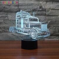 Ciężarówka Światła 3D Optyczny Kabel USB LED Lampa Światła Akrylowe Zabawki dla dzieci Prezenty 3D Biurko Dotykowy Lampa Stołowa jak Kryty dekoracji