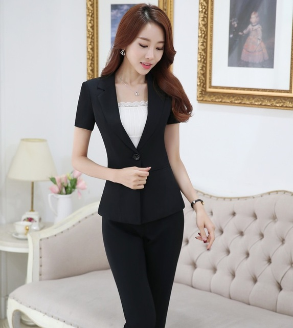 Plus Size 4XL Professional Business Women Suits With Jackets And Pants Summer Short Sleeve Female Trousers Sets Blazers Outfits