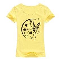 2017 Women Summer Brand Lycra Cotton T shirt Fashion Butterfly Printed T-shirt Casual O-Neck Short Sleeve Elastic Tops Femme A18