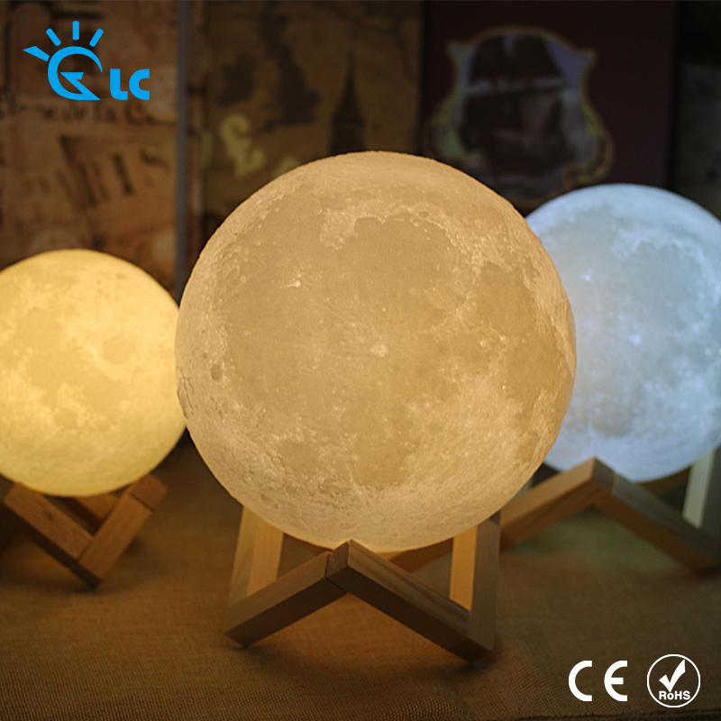 Rechargeable LED Night Light Moon Lamp 3D Print Moonlight Luna Touch 2 Colors Change Touch Switch For Creative Gift Home Decor levitating moon light magnetic floating 3d print moon lamp led night light 2 color change luna moonlight baby kids birthday gift