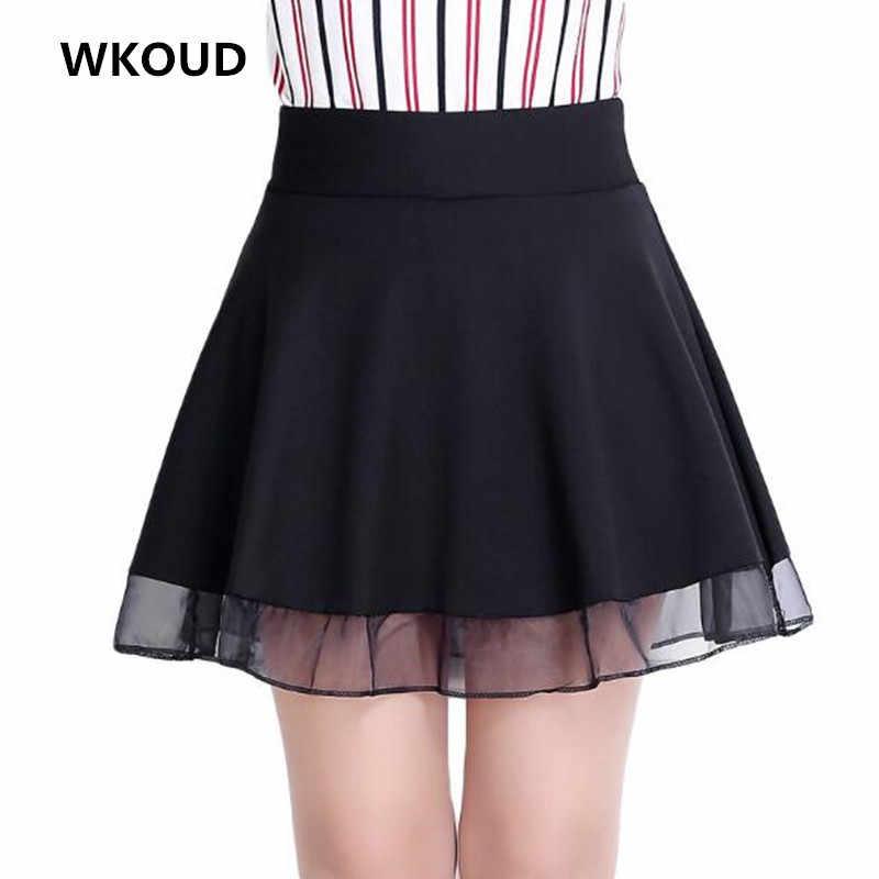 Wkoud Для женщин Высокая Талия ол юбка моды Колледж черный низ трапециевидной формы