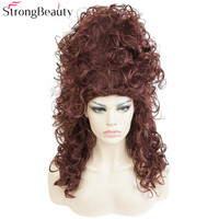 StrongBeauty Synthetic Long Curly Wig Dark Auburn Drag Wig Witch Hair Beehive Cosplay Wigs