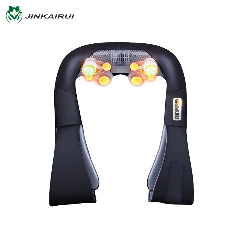JinKaiRui Rechargeable Cordless Shoulder Massager Shiatsu Kneading Massage Jade Stone Hammer Heating for Car Home Travel Use