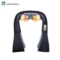 JinKaiRui Rechargeable Cordless Shoulder Massager Shiatsu Kneading Massage Jade Stone Hammer Heating for Car Home Travel Use