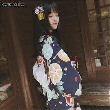 2019 japanese traditional 100% cotton kimono japan flower bathrobes women yukata sleepwear bath robe