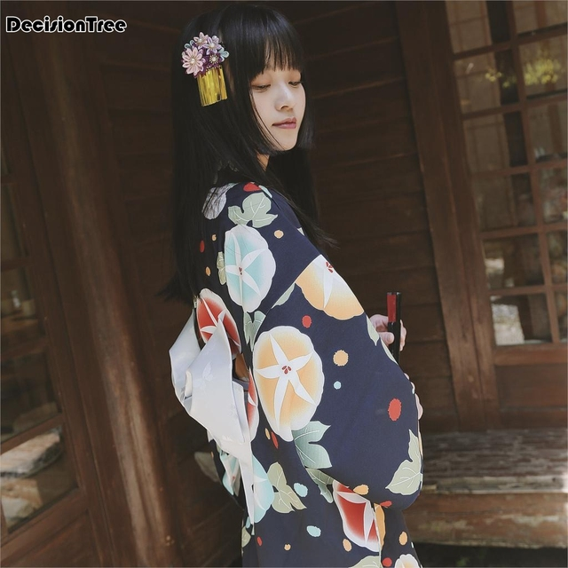 2019 Summer Japanese Traditional 100 Cotton Kimono Japan Flower