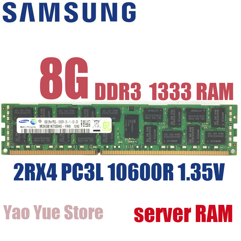 Free shipping For Samsung 8GB 8G PC3L 10600R DDR3 1333MHz ECC REG PC server memory RAM low voltage 1.35V 100% normal work