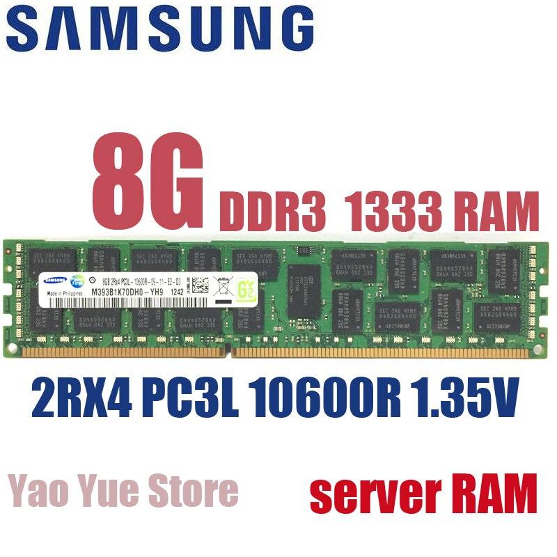 Free shipping For Samsung 8GB 8G PC3L 10600R DDR3 1333MHz ECC REG PC server memory RAM low voltage 1.35V 100% normal work