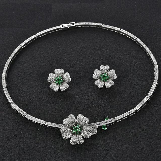AlooWay New high-grade flowers zircon collars bridal necklaces earrings jewelry evening dress wedding sets