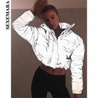 BOOFEENAA Reflective Jacket Winter Coat Women Parka Streetwear Fashion 2018 Warm Casual Padded Outerwear Windbreaker C87 CZ91