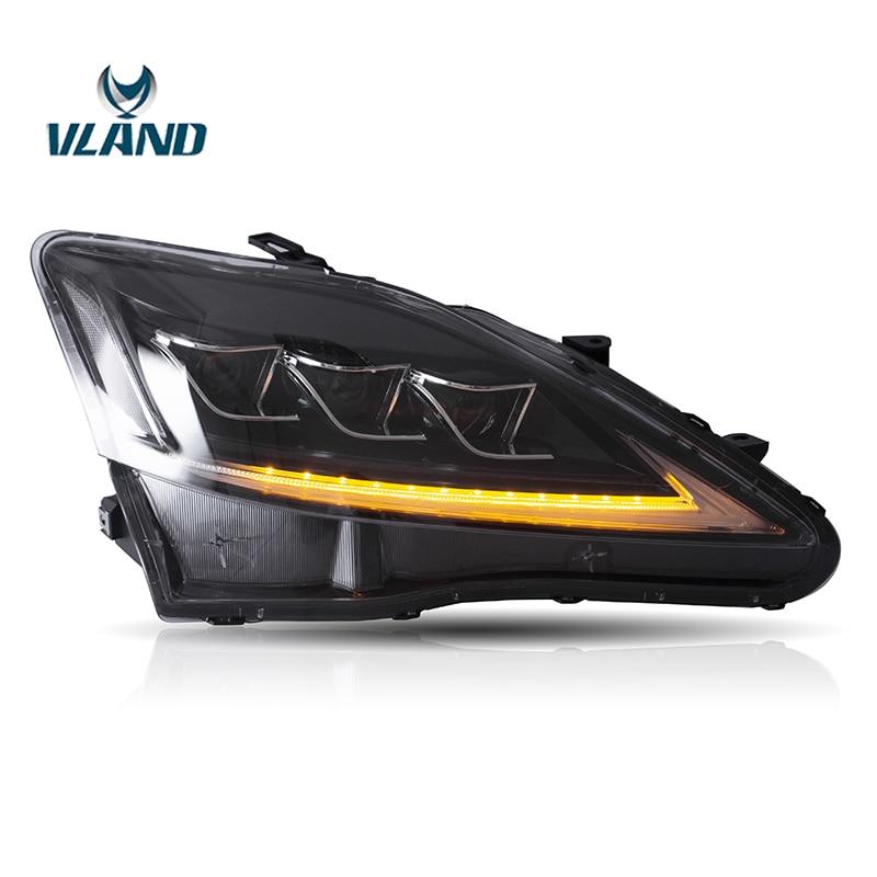 Vland IS250 Fábrica Acessórios Do Carro Cabeça Da Lâmpada para Lexus 2006-2012 Completa LED Head Light com Indicador Seqüencial