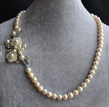 Wholesale Pearl Jewelry Set White Color 20 Inches AA 8-9MM Genuine Freshwater Pearl Necklace Earrings Handmade Flower Jewelry.