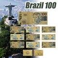 WR 10 pçs/set Cédula Brasil Ouro Banknote 2,5, 10,20, 50,100 Bills Falso Dinheiro Notas de Papel de Nota De Banco Dinheiro Collectibles Presente