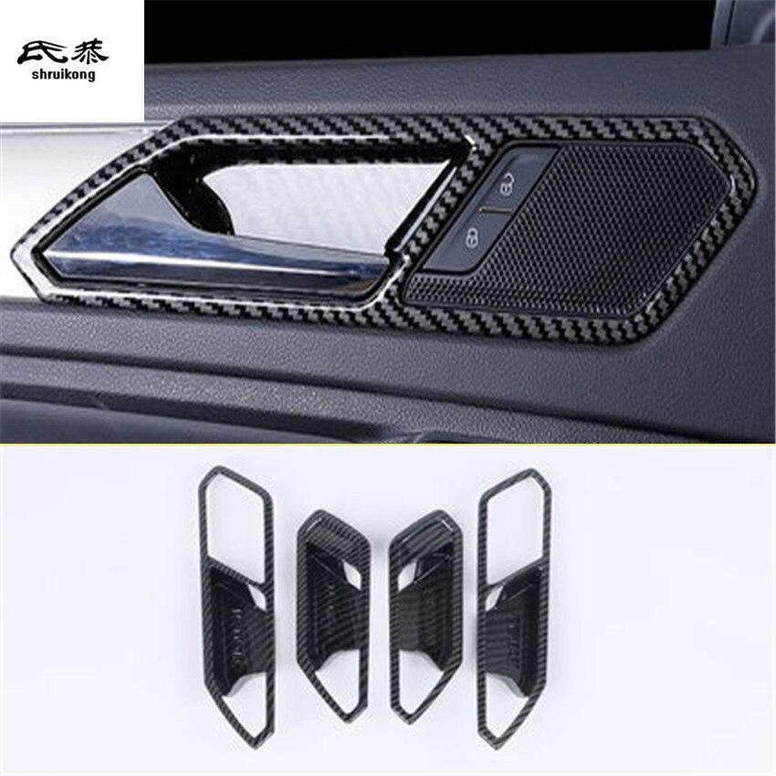 4 pcs/lot autocollants pour voiture en fibre de carbone ABS décoration de poignée de porte intérieure pour Volkswagen VW Tiguan MK2 2017-2018