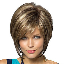 HAIRJOY Women Synthetic Hair Wig Bob Haircut Pixie Style with Bangs  Blonde Brown Double Color Short  Wig Free Shipping все цены