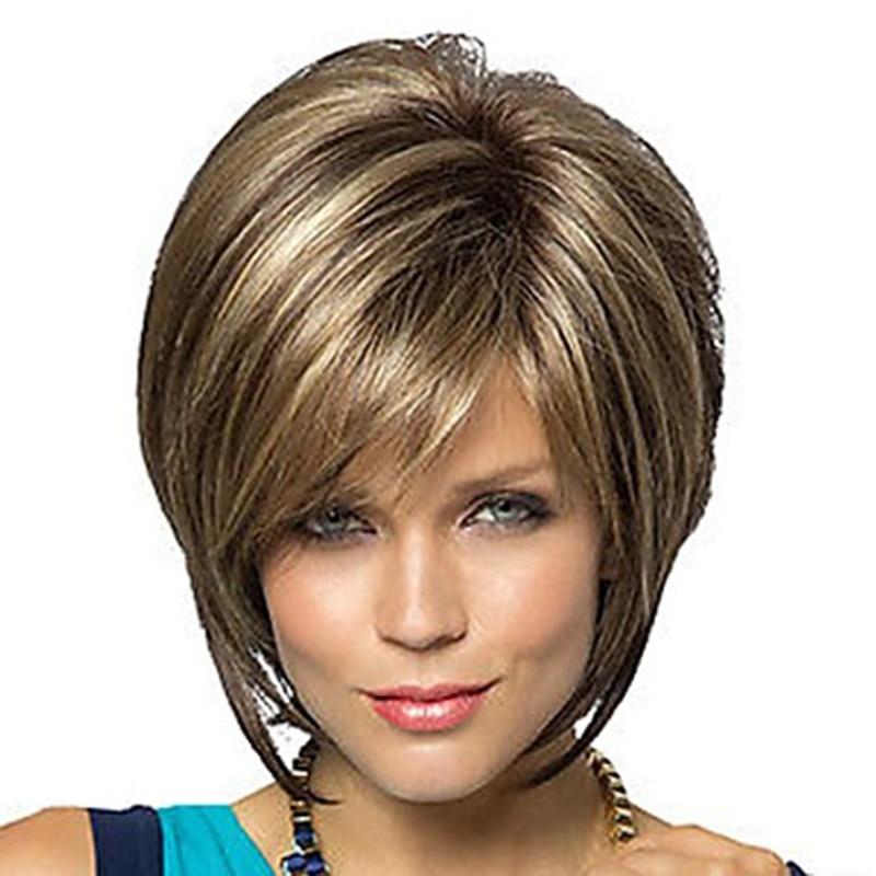 Peluca de pelo sintético para mujer HAIRJOY Bob corte de pelo estilo Pixie con flequillo Rubio marrón doble Color corto peluca envío gratis