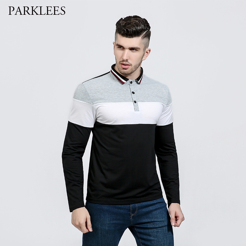 Contrast Color   Polo   Shirt Men 2017 Brand Men's   Polo   Shirt Casual Cotton   Polo   Shirts Long Sleeve Slim Fit Camisa Masculina   Polo