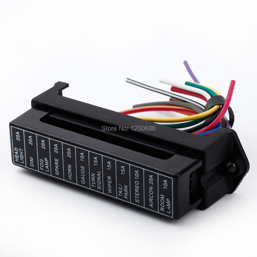 12 Way DC 12V Volt Fuse Box 24V 32V Circuit Car Trailer Auto Blade Fuse Box Block Holder ATC ATO 2-input 12-ouput Wire blade style fuse holder for nissan mazda odyssey racing car black dc 12v