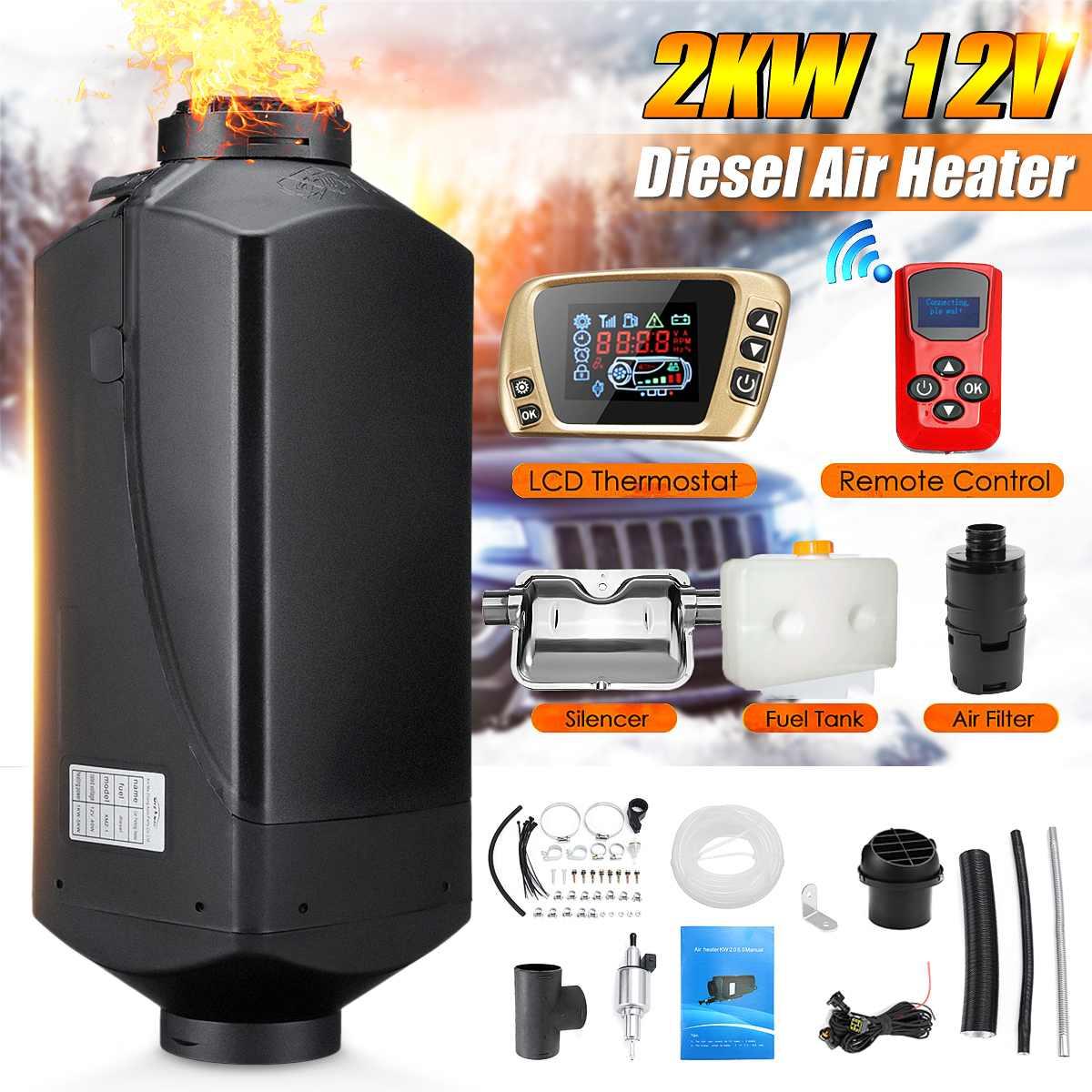 12V 2kw Diesels chauffage par Air chauffage par Air interrupteur LCD avec silencieux et télécommande pour camions bateaux voiture remorque chauffage
