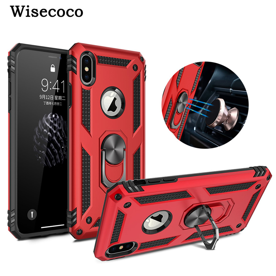 Shockproof Armor Phone <font><b>Case</b></font> for <font><b>IPhone</b></font> XS MAX XR 8 <font><b>7</b></font> 6 6S <font><b>Plus</b></font> Magnetic Car <font><b>Ring</b></font> <font><b>Holder</b></font> Stand Silicone TPU + Hard PC Back Cover image