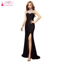 High Collar Sleeveless Crystal Bling Bling Black Prom Dresses Sexy Side Slit Chiffon Evening Gown