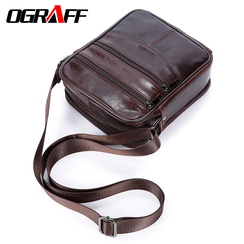 OGRAFF Genuine leather men messenger bag Tablets men's Shoulder bag handbag Vintage Crossbody Bags male briefcase Leather Bags