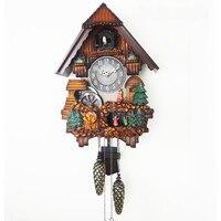 Настенные часы из цельного дерева cuckoo для гостиной, умные часовые часы для детской спальни, с героями мультфильмов, тихая роспись, полимерны