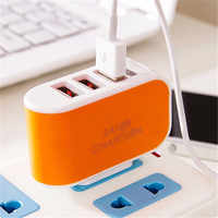 LED Triple USB Ports Portable Travel US Plug Home Wall Power Adapter Charger Random Color