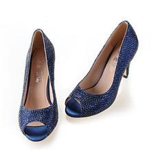 Handmade full rhinestone diamond navy blue woman heels bridal wedding party pumps dark blue evening banquet shoes small big size