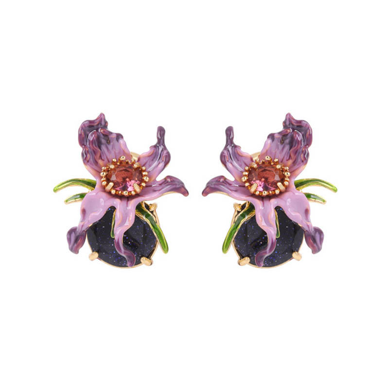 Charms Purple Flower Gem Earrings For Women Enamel Glaze 925 Silver Needle Allergy-proof Stud Earrings Party Jewelry chic ellipse shape faux gem flower earrings for women
