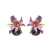 Charms Purple Flower Gem Earrings For Women Enamel Glaze 925 Silver Needle Allergy proof Stud Earrings Party Jewelry