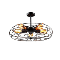 Fan shape led ceiling light wrought iorn Lamp 5pcs E27 6W warm white Edison led lamp Restaurant Bar Study free shipping