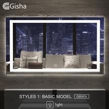 Gisha смарт-зеркало светодиодный ванная зеркало для ванной комнаты ванная туалет анти-противотуманное зеркало с сенсорным экраном Bluetooth G8047