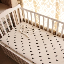 1pc Baby bed fitted sheet black white style knitted 100% cotton fabric baby crib bed sheet plus Triangle elephant for boys girls
